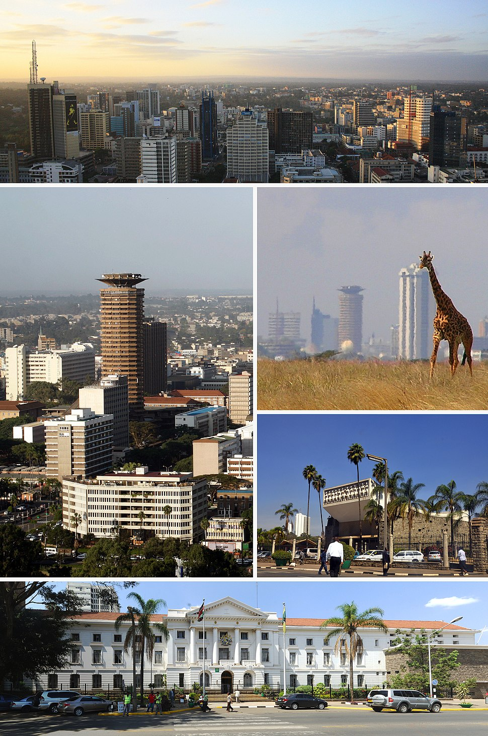 Clockwise from top: Central business district, Nairobi National Park, Parliament of Kenya, Nairobi City Hall and the Kenyatta International Conference Centre.