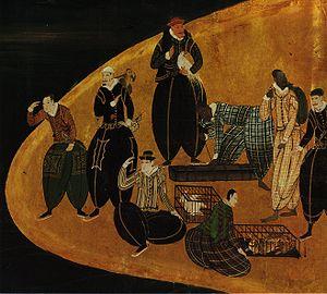 Columbian Exchange - Portuguese trading animals in Japan; detail of Nanban panel (1570–1616)