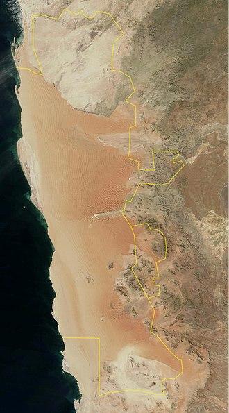 Namib-Naukluft National Park - Image: Namib Naukluft Park Borders Sat