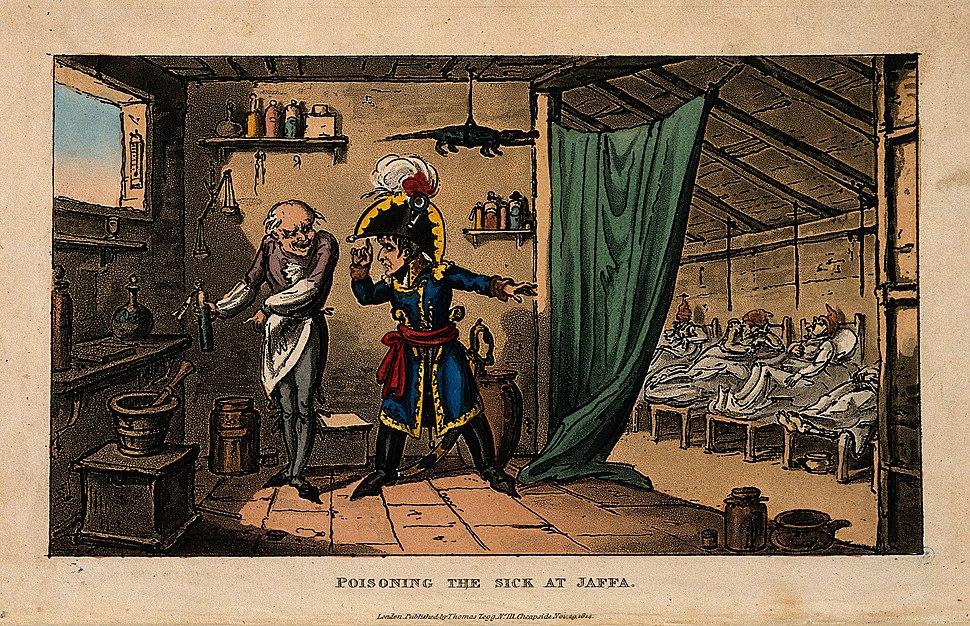 Napoleon Bonaparte instructing the doctor to poison the plag Wellcome V0010635