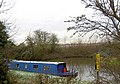 Narrow boat on the Trent and Mersey canal from a lay by on the busy A38 - geograph.org.uk - 632385.jpg