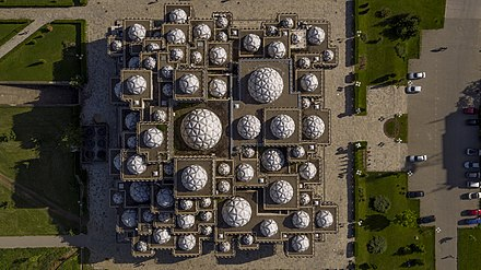 Bird's-eye-view of the building National Library of Kosovo photo Arben Llapashtica.jpg