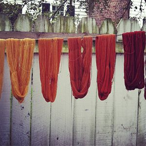 Natural dye - Naturally dyed skeins made with madder root, Colonial Williamsburg, VA