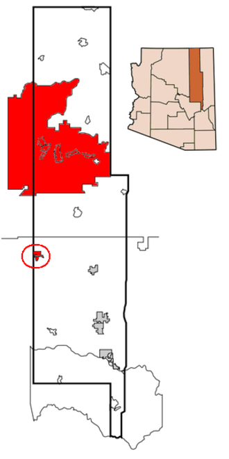 Flag of the Hopi Nation - Location of the Hopi Reservation within Navajo and Coconino counties in Arizona.