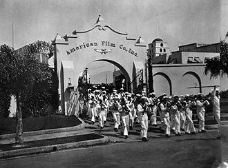 American Film Manufacturing Company - The Navy Recruiting Band at the entrance to the American Film Company in Santa Barbara, California, June 1919