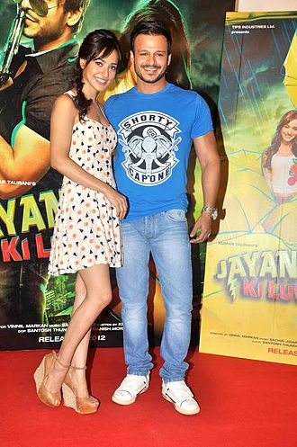Vivek Oberoi - Neha Sharma with Oberoi at promo launch of their film Jayantabhai Ki Luv Story