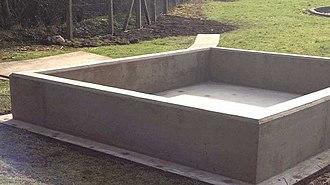 Bunding - A new concrete bund ready for integrity test