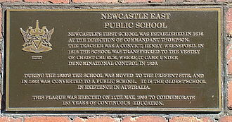 Newcastle East Public School - Plaque commemorating the original location of the school. Located on the corner of Church and Bolton streets