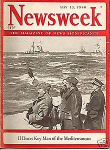 "Cover of Newsweek magazine, 13 May 1940, showing Mussolini saluting navy revue from shore, with headline ""Il Duce: key man of the Mediterranean""."