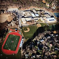 Ariel Photograph of Newton South High School taken on December 30, 2014 from a Cessna 172