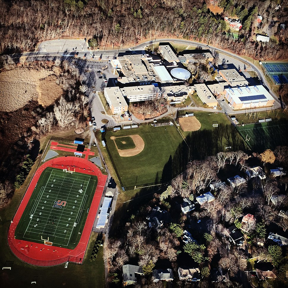 Aerial Photograph of Newton South High School taken on December 30, 2014 from a Cessna 172
