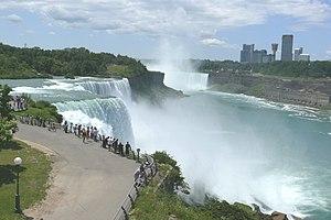 Niagara Falls, in front the American Falls, in...