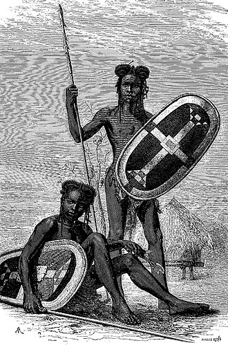 """Zande people - Niam-Niam warriors. From """"Au coeur de l'Afrique: trois ans de voyages et d'aventures dans les régions inexplorées de l'Afrique centrale"""", by George Schweinfurth in Le Tour du Monde, 1874"""