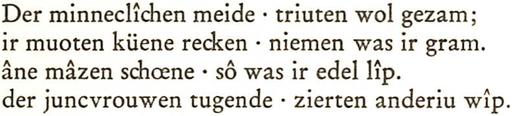 Nibelungenlied Strophe 3 mit Hochpunkt zur Versteiltrennung