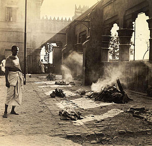 Ghosts in Bengali culture - Nimtala Burning Ghat, Calcutta, 1945