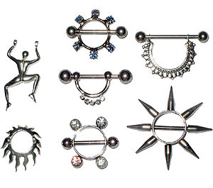 Nipple shield (jewelry) - Nipple jewelry including nipple shields