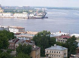 Il punto di confluenza dell'oka nel volga presso nižnij novgorod