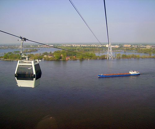 Riding the Nizhny Novgorod cable car in summer (Photo by Алексей Белобородов, via Wikimedia Commons)