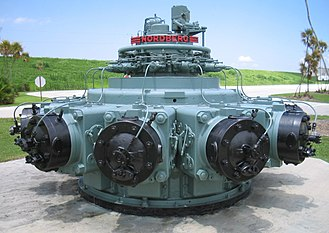 A Nordberg Manufacturing Company two-stroke diesel radial engine for power generation and pump drive purposes Nordberg radial engine 648.JPG