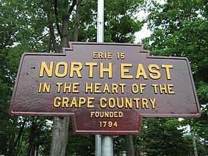 North East, Pennsylvania - A Keystone Marker, with an atypical color scheme, in North East