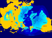 Northern hemisphere glaciation during the last ice ages. The set up of 3 to 4 km thick ice sheets caused a sea level lowering of about 120 m.