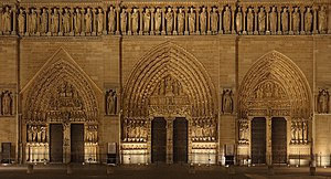 Lower part of the front façade of Notre-Dame Cathedral, Paris