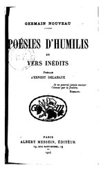 Germain Nouveau: Poésies d'Humilis et vers inédits