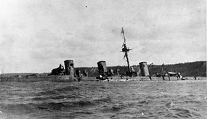 Battle of Korsakov - Image: Novik scuttled at Koraskhov Bay