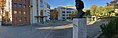 Nytorget, Jernbanegata, Mo i Rana, Norway, 2017-10-09, Tinghuset (Rana tinghus tingrett), Universitet Nord Campus Helgeland, Babettes cafe, Søster Astrid sculpture – cropped distorted panorama c.jpg