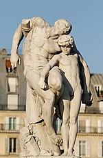 La morte di Spartaco, crocifisso lungo la via Appia (secondo una tradizione non accolta però dagli storici romani), marmo bianco di Louis-Ernest Barrias, 1871, ora a Parigi, Giardino delle Tuileries.