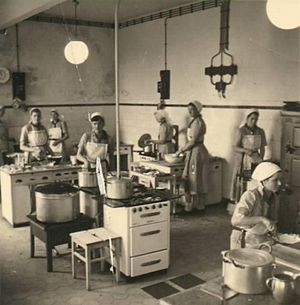 Reifenstein schools - The cooking classes provided the meals for all students. Oberkirchen 1960