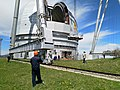 Observatory engineers control the removal of the old mirror from the large azimuth telescope dome.jpg