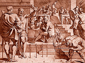 Athletics in epic poetry - Odysseus Bow and the 12 Axes-Theodor van Thulden, 1606 - 1669