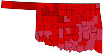 United States presidential election in Oklahoma, 1972 - Image: Oklahoma 1972 Presidential Results By County