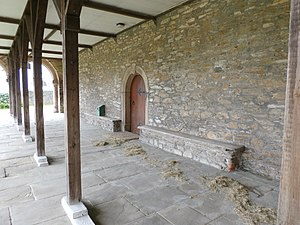 Hele's School - Under the colonnade of the Old Grammar School, Plympton, the school-room being above