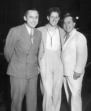 The Fleischmann's Yeast Hour - Vallée (center) with Olsen and Johnson, 1932.