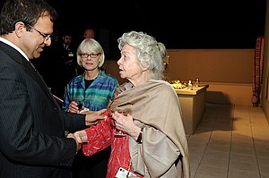 Omar Zakhilwal - Finance Minister Omar Zakhilwal greeting Nancy Dupree at a party inside the U.S. Embassy in Kabul.