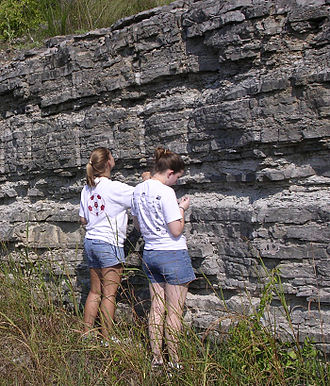 Principle of original horizontality - A stratigraphic section of Ordovician rock exposed in central Tennessee, US. The sediments composing these rocks were formed in an ocean and deposited in horizontal layers.