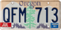 Oregon license plate, 1988–1989 series with July 1991 sticker.png
