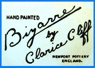 Clarice Cliff - The first printed 'Bizarre' backstamp used on Clarice Cliff ware from 1928 to early 1936 in various styles.