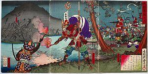 Battle of Dōmyōji - Gotō Mototsugu and Sanada Yukimura during the battle, by Utagawa Toyonobu