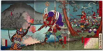 Battle of Dōmyōji - Gotō Mototsugu and Sanada Yukimura during the battle, by Utagawa Toyonobu