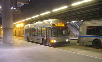 Silver Line (MBTA) - A Silver Line trolleybus at Courthouse station. This 40-foot model was used in the early days of the service, but has since been transferred to the MBTA's Bennett division.