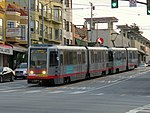 Outbound train at Taraval and 19th Avenue, February 2018.JPG