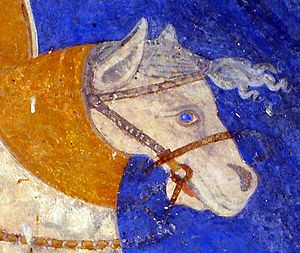 English: Detail of the horse bridle. St. Demet...