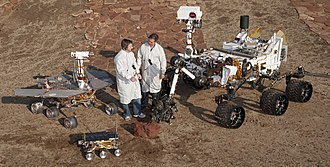 Rover (space exploration) - Three different Mars rover designs; Sojourner, MER and Curiosity.