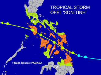 Typhoon Son-Tinh - The track and the Public Storm Warning Signal of Tropical Storm Ofel during it affects the Central Philippines. Area's under the orange color are signal no.2 while the light green color are signal no.1