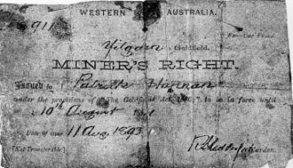 Paddy Hannan - Hannan's Western Australian miner's right, 1893