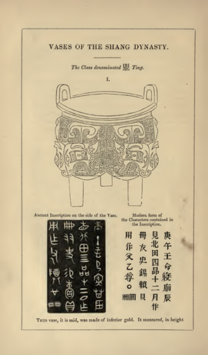 Peter Perring Thoms - A page from Thom's work on ancient Chinese vases showing a ''ding'' or tripod cauldron