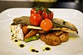 Pan seared sea bass at the White Hart Inn, Moreton, Essex, England.jpg